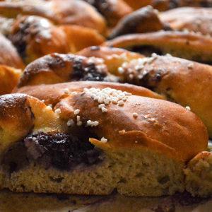 Blueberry custard plaited bread