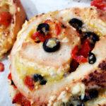 Black olive, tomato, garlic, vegan cheese swirl